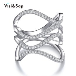 Wholesale Engagement Bague - Visisap White gold color party Rings for women best gifts AAA cubic zirconia bague engagement fashion jewelry bijoux VSR143