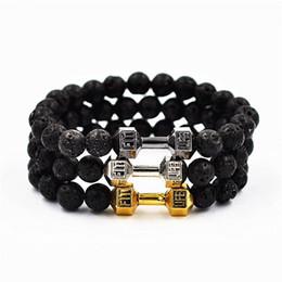 Wholesale Tiger Wood Wholesalers - Lava black onyx tiger eye beads bracelets metal dumbbell wild natural stone bracelets charm Beaded bracelet