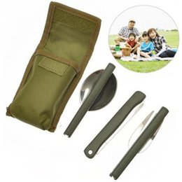 Wholesale Mini Forks Stainless Steel - Portable Mini Tableware Set outdoor Tool Folding Cutlery Set with Spoon Fork Knives for Camping Picnic Stainless Steel Talheres