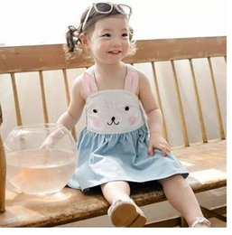 Wholesale Rabbit Print Dress - 2017 Summer new girls pure cotton suspender bunny dress baby girl rabbit slip denim blue princess sleeveless dress for 2-8years choose size