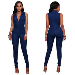 Wholesale Denim Overalls Woman - New Arrival Jeans Women Sleeveless Denim Jumpsuit European Style Fashion Zipper Slim Sexy Deep V Neck Overalls Bodysuit