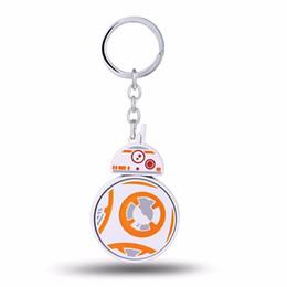 Wholesale Robot Woman - 10pcs lot Key Chain Droid Robot BB8 Key Rings Chaveiro Car Keychain Jewelry Souvenir can Turn 7x4.7cm HSIC11196