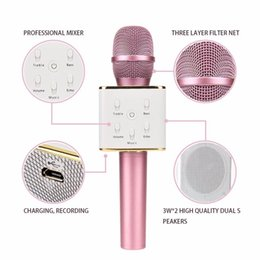 Wholesale Handheld Speaker Microphone - Q7 Handheld Microphone Bluetooth Wireless Magic KTV With Speaker Mic Handheld Loudspeaker Portable Karaoke Player For phone Freeshipping