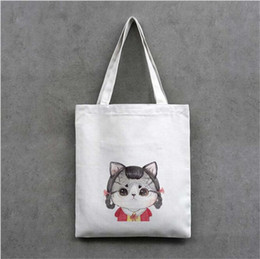 Wholesale Wholesale Red Zippers - 2017 New Korean Fashion Canvas bag environmental protection shopping bags cute cat candy bag single shoulder bags straw bag