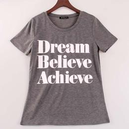Wholesale Dream Clothing - Wholesale-2016 new summer t shirt women Dream Believe Achieve printed t-shirt women top shirts tees short sleeve fit Sakura clothing
