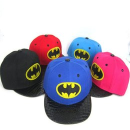 Wholesale Snapback Caps Batman - Summer Snapback Baseball Hat Kids Hip Hop Batman Summer Sun Caps for Boys Girls Sport Baseball Visor Sun Hats Summer Kids Cartoon Hats