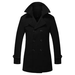 Wholesale Down Peacoat - Wholesale- New Arrival Solid Color Manteau Classique En Laine Turn Down Collar Long Men Peacoat Jacket