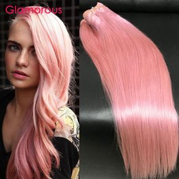 Wholesale Pink Hair Weft - Glamorous 3Bundles Brazilian Human Hair Straight Body Wave Pink Hair Extensions New Fashion 12-30In Peruvian Indian Malaysian Pink Hair Weft