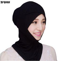Wholesale Turban Headband Wrap Cap - Wholesale- ZFQHJJ 2017 New Fashion Women Muslim Hijab Caps Solid Black White Stretch Modal Islamic Turban Head Cover Islam Wrap Hijab Caps