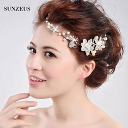 Wholesale Head Headpiece - Red  Sliver Wedding Bridal Headpiece Hair Accessories Pearl Bridal Crowns and Tiaras Head Jewelry Rhinestone Bridal Tiara Headband Noiva