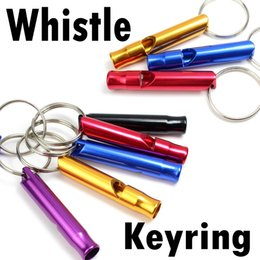 Wholesale Dog Whistle Key Chain - 6.8cm Colorful Whistel Outdoor Hiking Camping Aluminum Metal Emergency Survival Whistle Life saving Whistle Key Chain With Ring B237S
