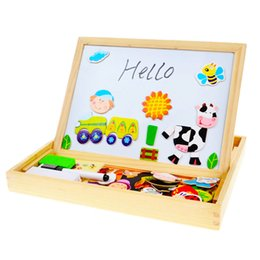 Wholesale Educational Drawing Board - Multifunctional Wooden Toys Educational Magnetic Puzzle Farm Jungle Animal Children Kids Jigsaw Baby Drawing Easel Board