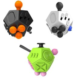 Wholesale Toys For Boys Adults - Fidget Cube Toys Stress Relief 12-side Dice For Adult Girls Boys Gift Magic Anti Irritability Anxiety Stress Depression Desk Dice