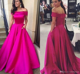 gray taffeta dress Coupons - Fuchsia Off the Shoulder Evening Dresses with Pocket Taffeta Elegant Prom Dress Long Sweep Train Zipper Back Formal Cocktail Dresses BA6460