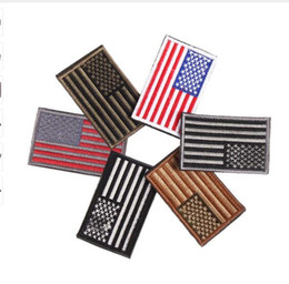 Wholesale Embroidery Garment - 2017 Embroidered thread American Flag Embroidered Patch Patriotic USA Military tactics Patch Iron-On or Sew to Any Garment