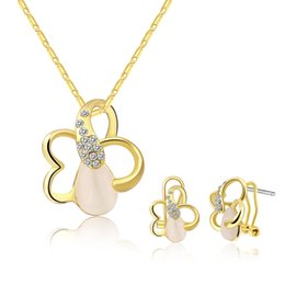 Wholesale Semi Precious Stone Necklace Sets - INANIS Fashion Jewelry Sets Flowers with Semi Precious Stone Stud Earrings Pandent Necklace Women's Jewelry Best Gift S577