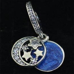 Wholesale European Glass Sterling Silver Necklaces - Loose Bead 925 Sterling Silver Vintage Night Sky Dangle Charm Fits European Pandora Jewelry Bracelet Necklace & Pendant Christmas Gifts
