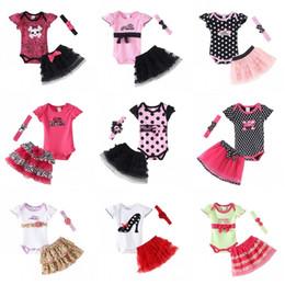 Wholesale Retail Girls Dress Watermelon - Wholesale- Retail Baby Clothing Set Baby Girl Clothes 3 pcs Sets Romper +Tutu Skirt + Headband 3pcs Sets Polka-dot Princess Tutu Dress