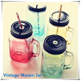 Wholesale Glass Bottles For Water - My Personality Gradient Color Mason Jar Bottle For icecream Fruit Installed Cold Drink Infusion Colored Glass Water Bottles