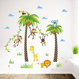 Wholesale Monkey Wall Papers - Cartoon Monkey Swing on the Coconut Tree Wall Stickers for Kids Baby Room Wall Decoration Cloud Elephant Giraffe Wall paper free shipping