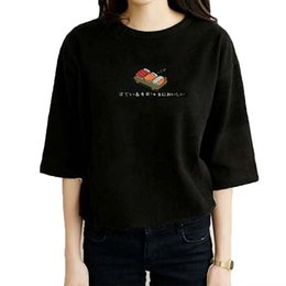 Wholesale Wholesale Japanese Fashion Clothing - Wholesale- Summer Women Tops Japanese Sushi Printed Cartoon Lovely T Shirt Wpmen Short Sleeved Women's T-Shirt Fashion Style Couple Clothes