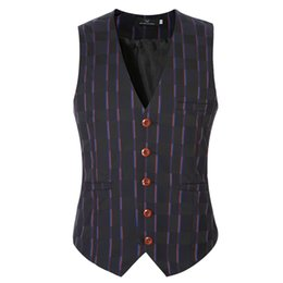 Wholesale Wholesale Designer Clothes Brands - Wholesale- New Gilet Men Formal Designer Brand Plaid Suit Vest Men Cotton V-Neck Casual Tops Waistcoats For Men Clothing Gray Plus Size 6XL
