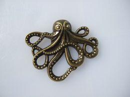 Wholesale Bronze Nautical - Wholesale-6Pcs Antique Bronze Tone Octopus Charms Pendants 43*35mm Nautical Steampunk Jewellery Making