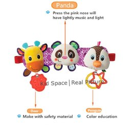 Wholesale Animal Sounds Music - Wholesale- SOZZY Melody Music Light Baby Toys Sound Rattles Children Hanging Strollers Car Ring Deer Panda Penguin Bed Seat Teethers Toys