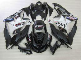 Kawasaki zx6r pegatinas online-Juego de carenado para el juego de carenado negro KXKASR ZX6R 2009 2010 West de Kawasaki ZX6R 09 10 OY04