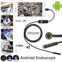 Wholesale Usb Tube - 7mm USB Android Phone Endoscope Camera 1M Waterproof inspection Snake Tube MicroUSB OTG Borescope HD720P Camera