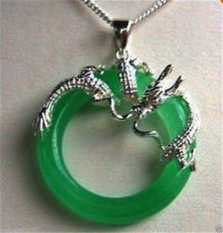 Wholesale Jade Rose Pendants - Pearls and jade Tibetan silver jewelry >Genuine AAA Green Jade solid Sterling silver dragon Hoop Pendants Necklaces