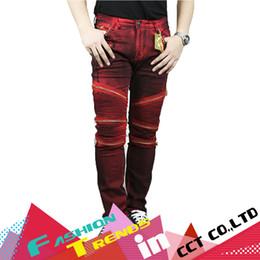 Wholesale Fit Zip - Wholesale-vaqueros hombres Red Color Men Jeans Denim Zip Classic Pants High Waist Pencil Pants Man Trousers Biker Fashion Jeans Slim Fit