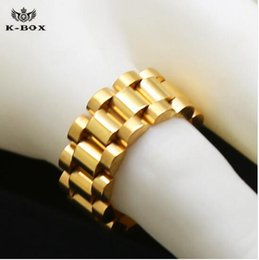 Wholesale Band Ring Stainless Style - 24K gold plated classic men rings Stainless Steel 24K Golden Link Ring Hip hop Mens Watchband Style President Big Ring US Size 8-12