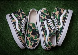 Wholesale Van Leather - Camouflage VAN X Aape old skool Classic black white men and women Casual Shoes sneakers skateboard shoes 36-44