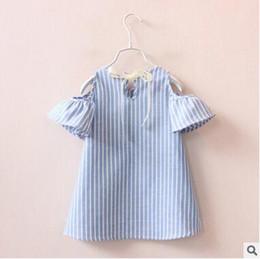 Wholesale Printed Mini Skirts - Summer kids blue stripe printing off-shoulder dresses Signature Cotton mini skirt kids casual dresses Children's clothes baby Girl's blouse