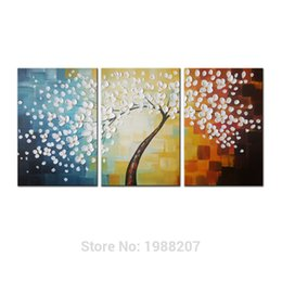 Wholesale Stretched Oil Paintings - Flower Full Blossom 100% Hand Painted 3 Panels Stretched and Framed Flower Artwork Floral Oil Paintings on Canvas Wall Art Decor