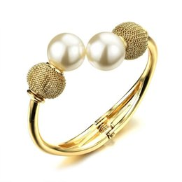 Wholesale Wide Bracelet Pearl - Europe and the United States wind jewelry plated 18K gold fashion wide bracelet, female exaggeration pearl opening bracelet