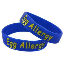 Wholesale Children Allergies - Wholesale Shipping 100PCS Lot Egg Allergy Medical Alert Bracelet Silicon Wristband For Children 5Colours For Choose