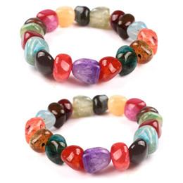 Wholesale Gemstones Stretch Bracelets - 10-12mm Beads Womens Mixed Healing Gemstone Beads Stretch Agate Stone Bracelet Chakra Yoga Reiki Prayer Stone Bracelet B498S