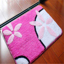 Wholesale Thick Shaggy Bathroom Rugs - Free Shipping cartoon rose red Washable New Thick micro fabric Carpet Shaggy Rugs mat Bathroom Colours for living bed room anti slip