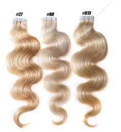 Ruban en Extensions de cheveux humains - 16 18 20 22 24 26 Pouces 40 pcs pleine tête 2.5g / pcs Body Wave peau trame humaine vierge Remy cheveux humains DHLshipping ? partir de fabricateur