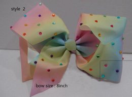 Wholesale Pageant Hair Bows - 9style available 8inch JoJo Siwa Small Pastel Rainbow Signature Hair Bow Dance Cheerleader Pageant Bows 30pcs no paper card