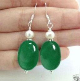 Wholesale Natural Pearl Dangle Earrings - Beautiful White pearl Natural green jade Silver hook Earrings