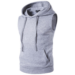 männer vlies ärmellos kapuzenweste Rabatt Großhandels- 2017 Herrenmode Fleece Plain Fit Hooded Sleeveless Weste Hoodies