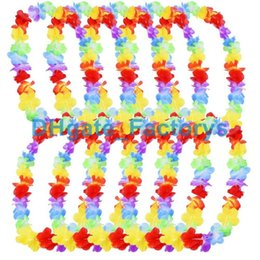 Wholesale Wholesale Beach Baskets - 500pcs lot Hawaiian leis Party Supplies Garland Necklace Colorful Fancy Dress Party Hawaii Beach Fun DHFTY-021