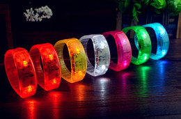 Wholesale Club Activities - 5 Color Sound Control Led Flashing Bracelet Light Up Bangle Wristband Music Activated Night light Club Activity Party Bar Cheer toy A-018