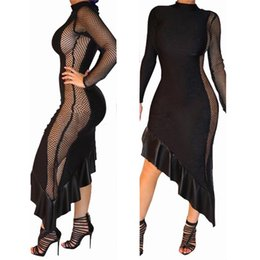 Wholesale Cotton Gauze Summer Clothes Women - 2017 Fashion Irregular Ruffles Gauze Hollow Out Dress Women Long Sleeve Stitching Beauty Clothing Black Asymmetrical Mesh Dresses