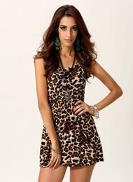 Wholesale Mini Crew Neck Leopard - Summer Fashion Sexy Night Club Style O-neck Mini Dress with Printed Leopard Pattern SH14