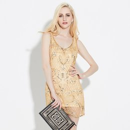 Wholesale Ladies Tongs - Speed sell tong sources European ladies sequined sleeveless package hip skirt trade high-end fashion dress