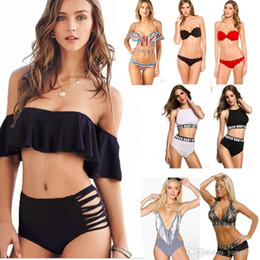 Wholesale Wearing Girls - Sexy Women's Bikini Set Padded Push Up Swimwear Bandeau Off Shoulder Halter Bandage Swimsuit Bathing Suit Girls Lady Beach wear S M L XL